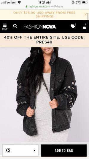 Fashion Nova Denim Black jacket Size Small for Sale in Pomona, CA