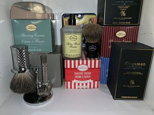 Limited edition Kingsman badger shaving brush with Mhule stand and Gillette safety razor for Sale in Los Angeles, CA