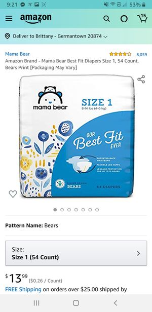 2 Brand new packs of Mama Bear Size 1 (54ct) Diapers. for Sale in Germantown, MD