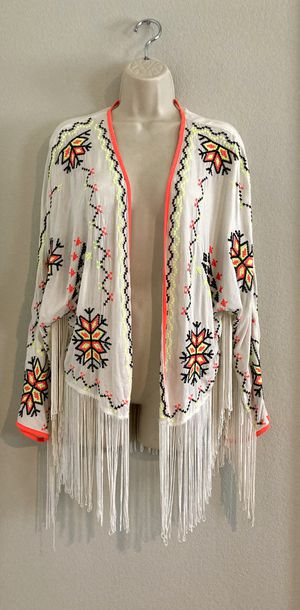 Like new boho style Atmosphere fringe cardigan/coverup. Sz S for Sale in Las Vegas, NV