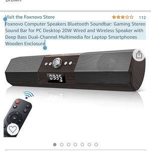 Foxnovo Computer Speakers Bluetooth Soundbar: Gaming Stereo Sound Bar for PC Desktop 20W Wired and Wireless Speaker with Deep Bass Dual-Channel Multim for Sale in Gaithersburg, MD