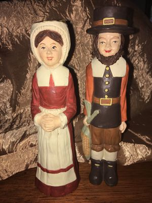 """2 Man Woman Pilgrim Taper Candle Holders cute for """"Thanksgiving Harvest or Fall Dinners"""" for Sale in El Mirage, AZ"""