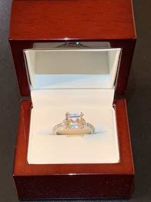 (4th of July deals) Amazing 14k Solid White Gold Emerald Cut Simulated Diamond Engagment Ring for Sale in Glendale, CA