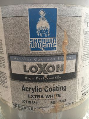 5 Gallon - Sherwin Williams Loxon Acrylic Coating Paint - Extra White for Sale in Palm Springs, FL