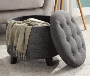 Round gray ottoman with storage for Sale in Detroit, MI