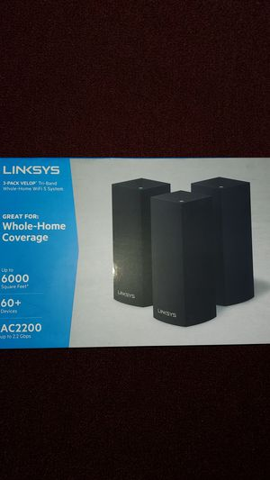 Linksys - Velop AC6600 Tri-Band Mesh Wi-Fi 5 System (Black - 3 Pack) for Sale in Brooklyn, NY
