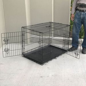 Brand new in box 30x19x21 Inches 2 Doors Pet Cage Dog Kennel Crate Foldable Portable collapsible for Sale in Whittier, CA