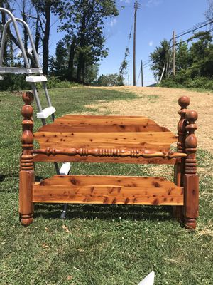 Full size Cedar bed frame with head and footboard for Sale in Staunton, VA
