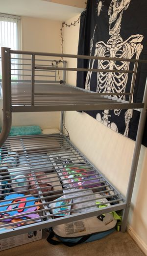 Twin over full metal bunk bed for Sale in Arlington, VA