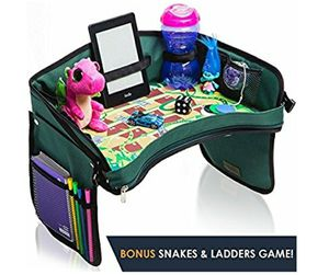 NEW! Kids Car Seat Travel Tray - with BONUS SNAKES & LADDERS GAME. Reinforced Base + Walls | Industrial Grade Zips | 100% Detachable for Sale in Stuart, FL