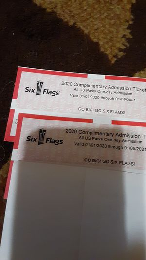 Six Flags passes (2) for Sale in Red Bank, TN