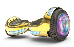 """Flash Wheel Hoverboard 6.5"""" Bluetooth Speaker with LED Light Self Balancing Wheel Electric Scooter - Chrome Gold for Sale in Pompano Beach, FL"""