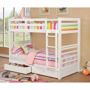 WHITE TWIN SIZE BUNK BED + UNDERNEATH STORAGE DRAWERS for Sale in Riverside, CA