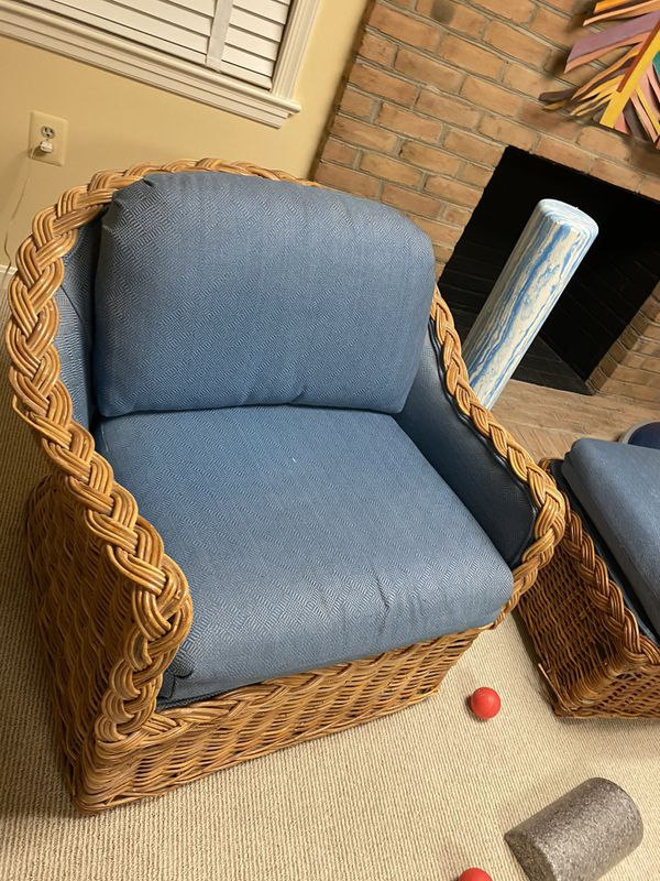 KREISS Hand Woven Rattan chair/sofa/couch and ottoman (3pc set)