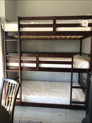 Triple twin bunk bed frame. Mattresses X3 $195 for Sale in Lancaster, CA