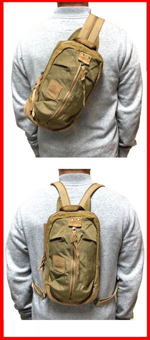 NEW! 2 IN 1 Backpack Crossbody bag leather nylon canvas sling side travel gym bag biking hiking for Sale in Carson, CA