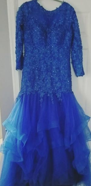 Size 14 xl ball gown dress wedding party blue ruffle with trail for Sale in Alexandria, VA