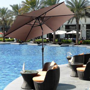 9ft Patio Umbrella Patio Market Steel Tilt w/ Crank Outdoor Yard Garden (Tan) for Sale in El Monte, CA