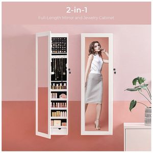 """SONGMICS 6 LEDs Mirror Jewelry Cabinet, 47.3""""H Lockable Wall/Door Mounted Jewelry Armoire Organizer with Mirror, 2 Drawers, Pure White for Sale in Whittier, CA"""