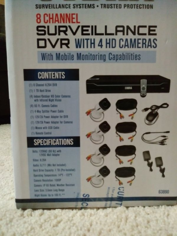 Cobra 8 channel surveillance dvr with 4 hd cameras for Sale in Sacramento,  CA - OfferUp