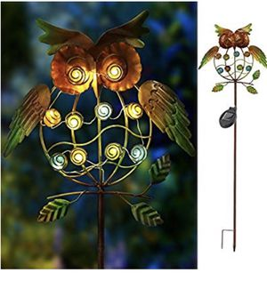 Garden Solar Lights Outdoor,Solar Powered Stake Lights - Metal OWL LED Decorative Garden Lights for Walkway,Pathway,Yard,Lawn (Multicolor) (Green Owl) for Sale in Mead, WA