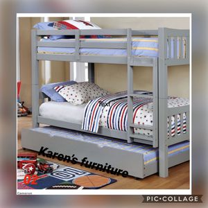 TWIN /TWIN BUNK BED SOLID WOOD GREY FINISH for Sale in Lancaster, CA