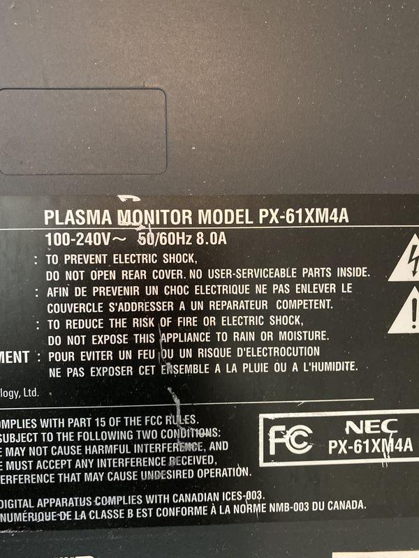 NEC plasma monitor 61 inches FREE