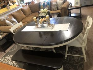 Dining table dinner table kitchen table dinning oval round 2 two chairs 2 benches wood cream pedestal for Sale in Glendale, AZ