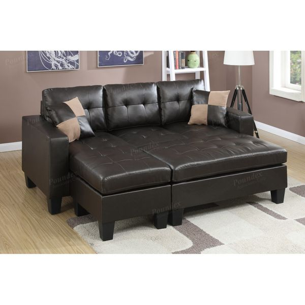 Brand New Espresso Bonded Leather Sectional Sofa Couch + Ottoman
