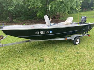 Jon boat with motor and trailer for Sale in Sanford, NC