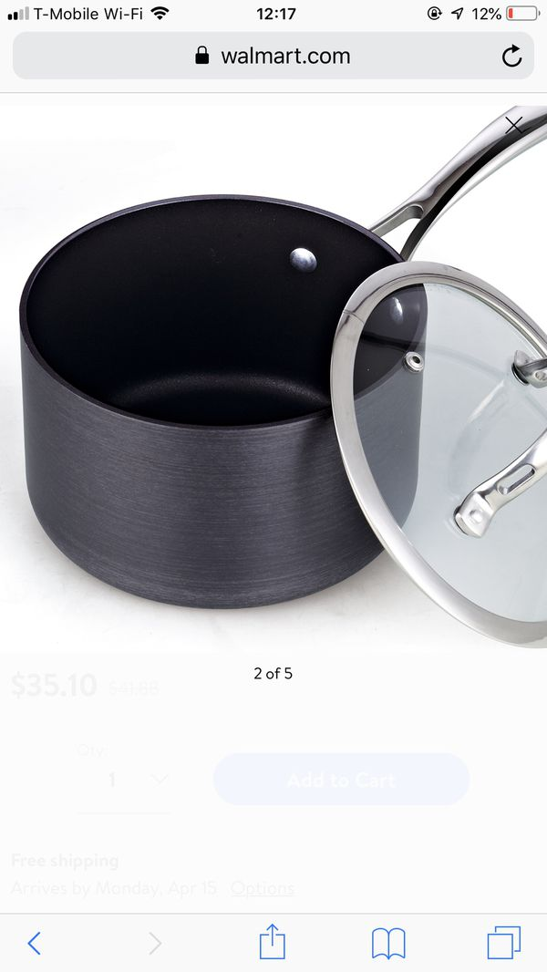 Cook Standard Nonstick Pot Hard Anodize 3 Qt Sauce Pan With Cover Deluxe Kitchen Appliances Luxury Cookware Home Household