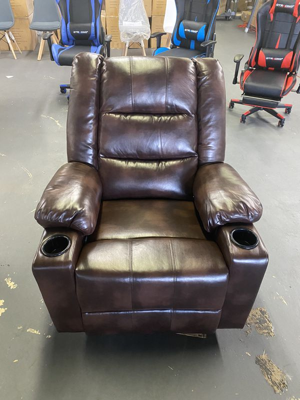 Leather Recliner Chair Modern Rocker with Heated Massage Ergonomic Lounge 360 Degree Swivel Single Sofa Seat with Drink Holders Living Room Chair (Br