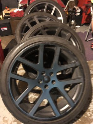 22's Matte Black for Chrysler or Dodge/ New Tires for Sale in Saginaw, MI