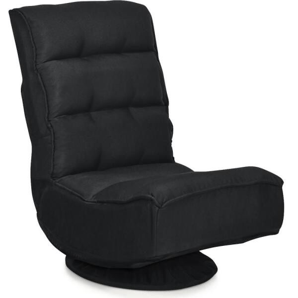 23 in. Black Solid Fabric 1-Seat Folding Lazy Sofa with Reclining