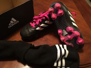 Adidas Black White Soccer Cleats Kids Size 11 With Socks for Sale in Gilbert, AZ