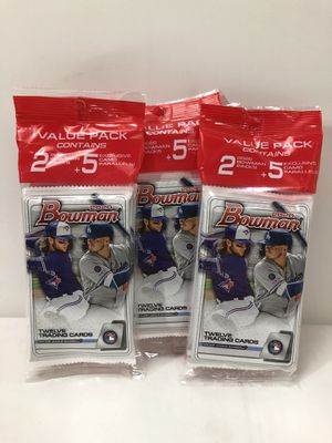 Lot of 3 cello / value packs Topps MLB baseball cards 2020 Bowman cards for Sale in Burbank, CA
