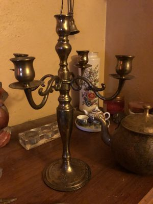 Brass Chinese 1900 tea pot, brass candelabra and candle stuffer, etc. for Sale in Katy, TX