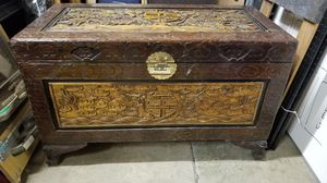 Oriental inspired hand carved trunk for Sale in Manassas, VA