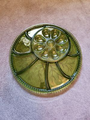 Vintage Indiana Green Glass Deviled Egg and Relish Tray for Sale in Ceres, CA