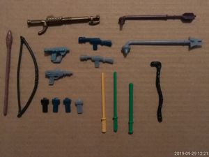 (17) VINTAGE COLLECTIBLE 80'S REPODUCTION REPLACEMENT STAR WARS ACTION FIGURE WEAPONS. for Sale in El Mirage, AZ