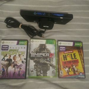 Xbox 360 Kinect With 3 Games for Sale in Garden Grove, CA