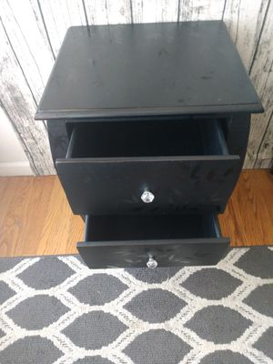 """Black 2-Drawer Accent Table w/Glass Knobs 18"""" x 16"""" x $25""""H for Sale in Arvada, CO"""