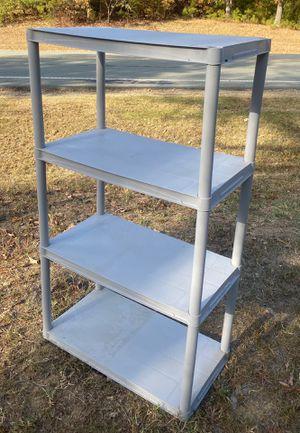 4 TIER PLASTIC GREY STORAGE ORGANIZER SHELF UNIT for Sale in Chapel Hill, NC