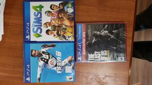 Ps4 games Fifa 19, Last of us , Sims 4 for Sale in Arlington, TX