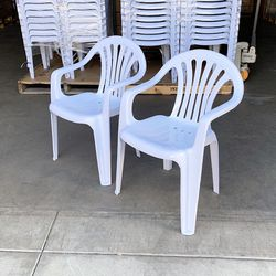 """$22 (new) set of 2pcs stacking plastic chair with armrest outdoor patio furniture chairs 21x21x31"""" for Sale in El Monte,  CA"""