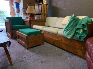 THIS END UP FURNITURE: Couch (green ticking fabric) 6 1/2 feet long ; 2 Chairs (solid green material); 2 End Tables; 1 Ottoman. $450.00. for Sale in Bristow, VA