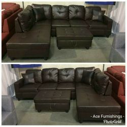 Brand New Brown Leather Sectional With Storage Ottoman for Sale in Renton,  WA