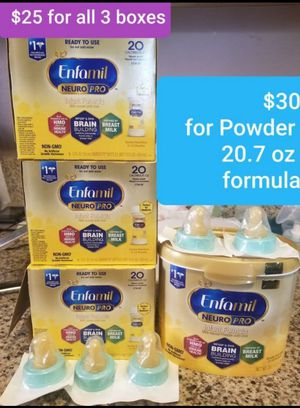 Enfamil neuropro Infant Powder tub and 3 boxes Ready to use formula for Sale in Huntington Park, CA