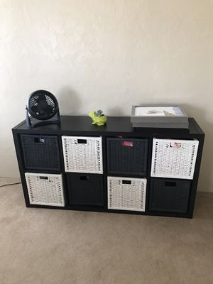 Black Ikea storage or dresser- comes with 8 baskets! for Sale in Merced, CA
