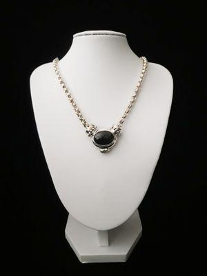 "17"" (Joseph Esposito), Espo Sig, Espo Snap"". Solid Sterling Silver Rolo Chain Necklace w Solid Sterling Silver Black Onyx & Amber Pendant, signed for Sale in Columbia, SC"